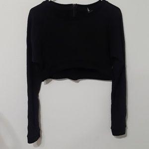 Sparkle & fade crop long sleeve sweater.